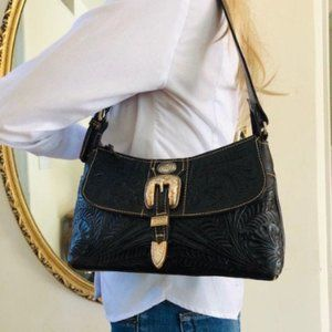 American West Black tooled leather purse